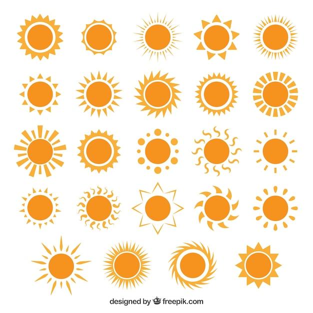 Verscheidenheid van zonpictogrammen Gratis Vector
