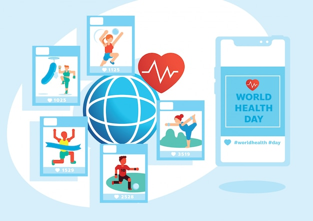 Verscheidenheidsactiviteit op de wereldgezondheidsdag Premium Vector