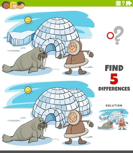 Verschillen educatieve taak voor kinderen met eskimo en iglo en walrus Premium Vector