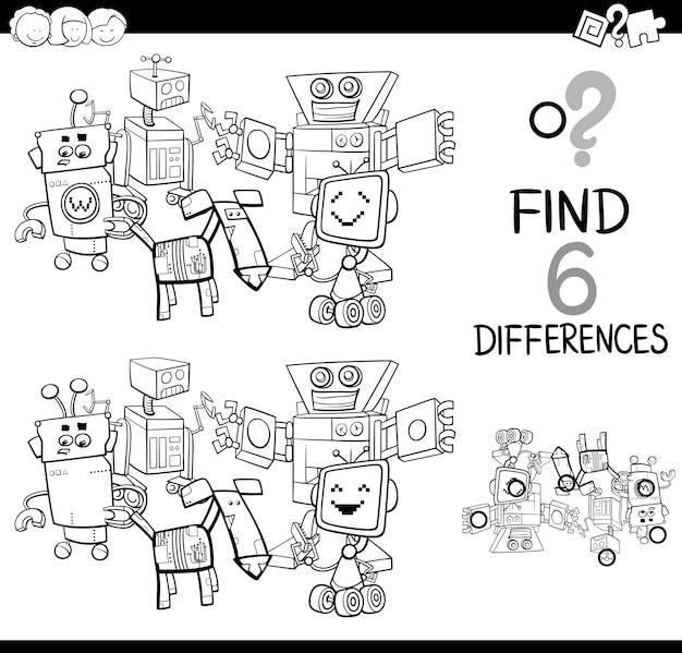 Kleurplaten Robots Afdrukken.Verschillen Met Robots Kleurplaat Vector Premium Download