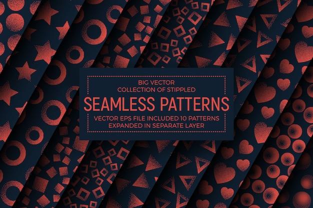 Verschillende abstracte gestippelde naadloze patronen set Premium Vector