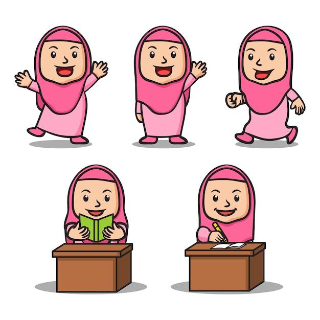 Verschillende activiteit van meisje islamitische school kids tekenset Premium Vector