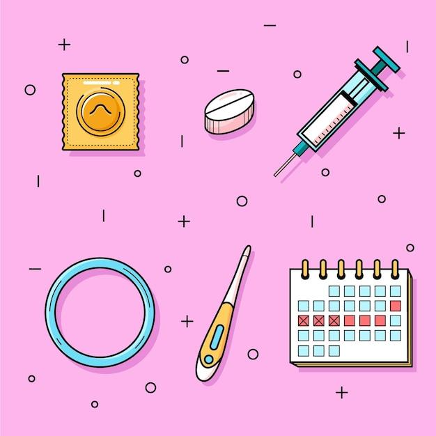 Verschillende anticonceptiemethoden pakken Gratis Vector