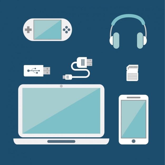 Verschillende apparaten op een blauwe achtergrond Gratis Vector