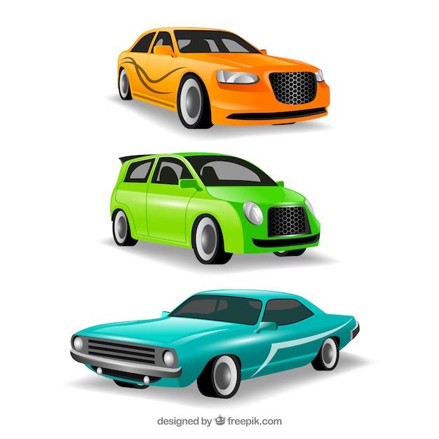 Verschillende auto's in verschillende standpunten Premium Vector