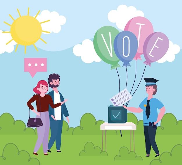 Verschillende beroepen kiezers stembiljetten op stembureau illustratie Premium Vector