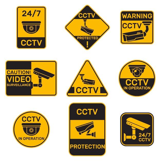 Verschillende cctv-systeembadges platte set Gratis Vector
