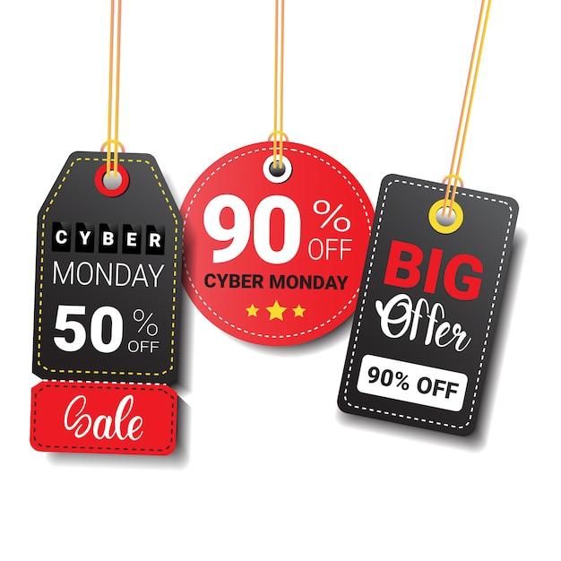 Verschillende cyber maandag verkoop tags of etiketten instellen geïsoleerd Premium Vector