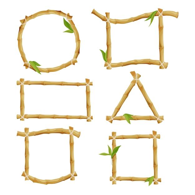 Verschillende decoratieve frames van bamboe Premium Vector