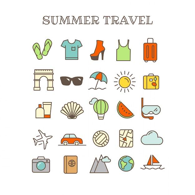 Verschillende dunne lijn pictogrammen vector set. zomerreizen Premium Vector