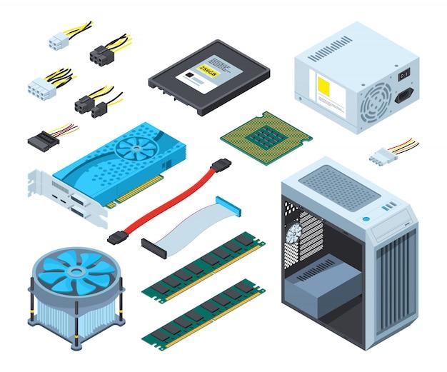 Verschillende elektronische onderdelen en componenten voor de computer Premium Vector