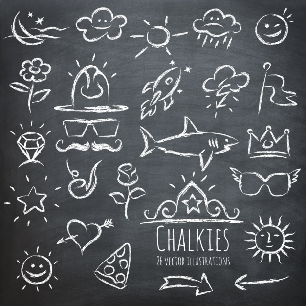 Verschillende elementen getekend op een schoolbord Gratis Vector