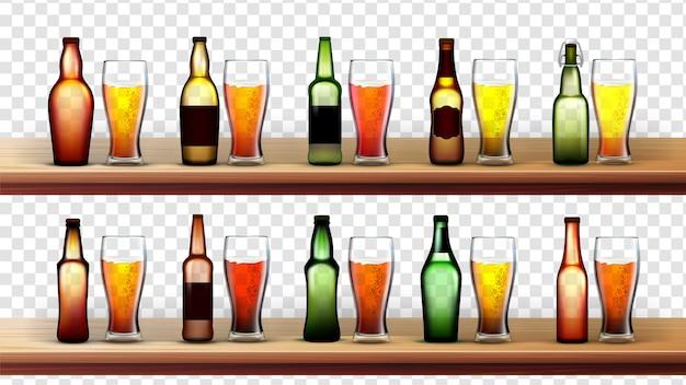 Verschillende flessen en glazen met bier Premium Vector