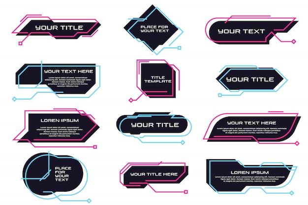 Verschillende futuristische titels en banners platte set Gratis Vector