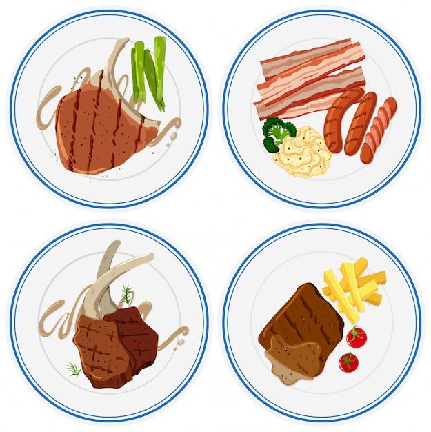 Verschillende gegrild vlees op platen Gratis Vector