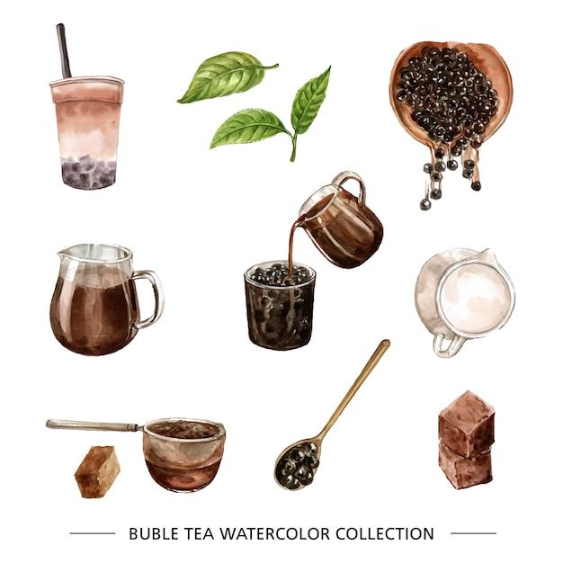 Verschillende geïsoleerde aquarel bubble tea Gratis Vector