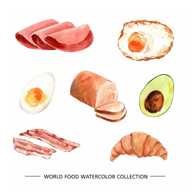 Verschillende geïsoleerde aquarel voedsel illustratie Gratis Vector