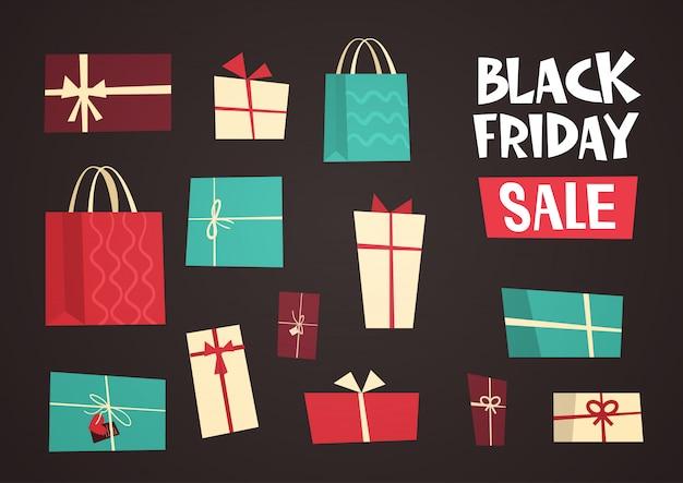 Verschillende geschenkdozen met black friday-verkooptekst Premium Vector