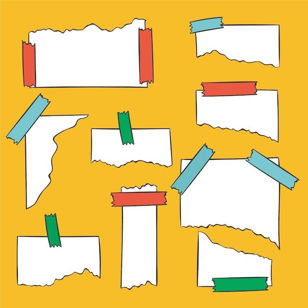 Verschillende gescheurde papieren met plakband Gratis Vector