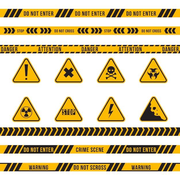 Verschillende gevaar lint en teken platte set Gratis Vector