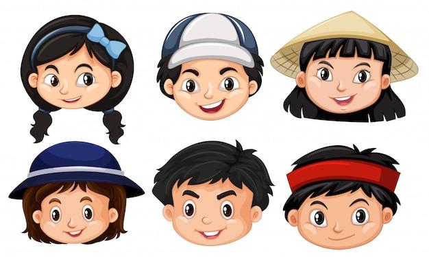 Verschillende gezichten van asain-kinderen Gratis Vector