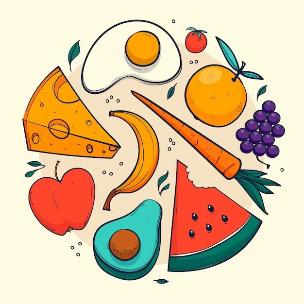 Verschillende gezonde voedingsmiddelen geïllustreerd Premium Vector