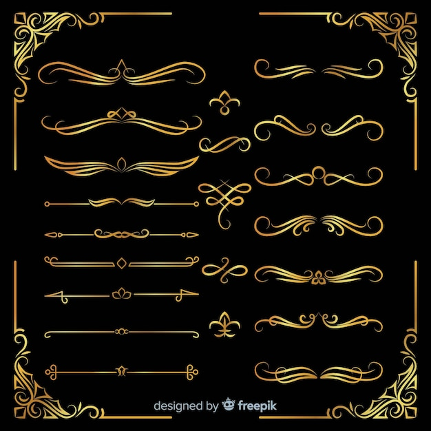 Verschillende gouden ornamenten pack Gratis Vector