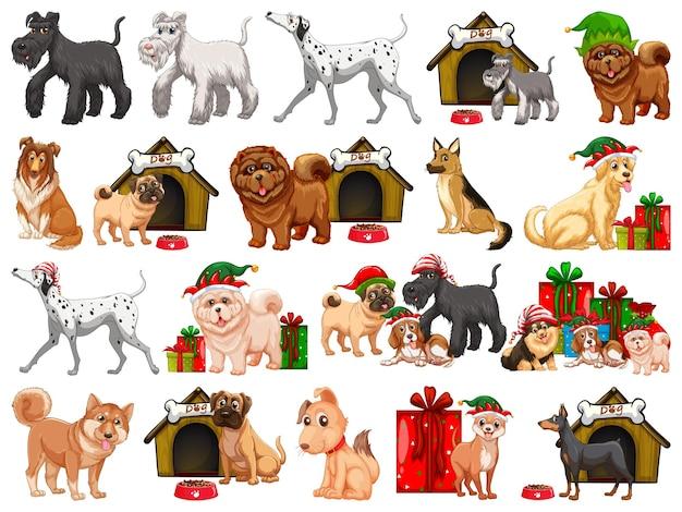 Verschillende grappige honden in cartoon stijl geïsoleerd op een witte achtergrond Gratis Vector