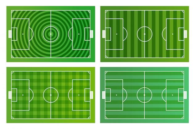 Verschillende groene voetbalvelden vector infographic sjabloon Premium Vector