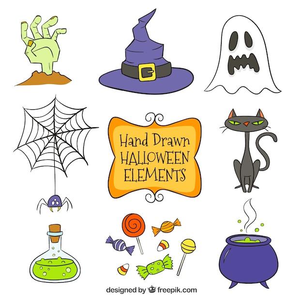 Halloween Artikelen.Verschillende Hand Getekende Halloween Artikelen Vector