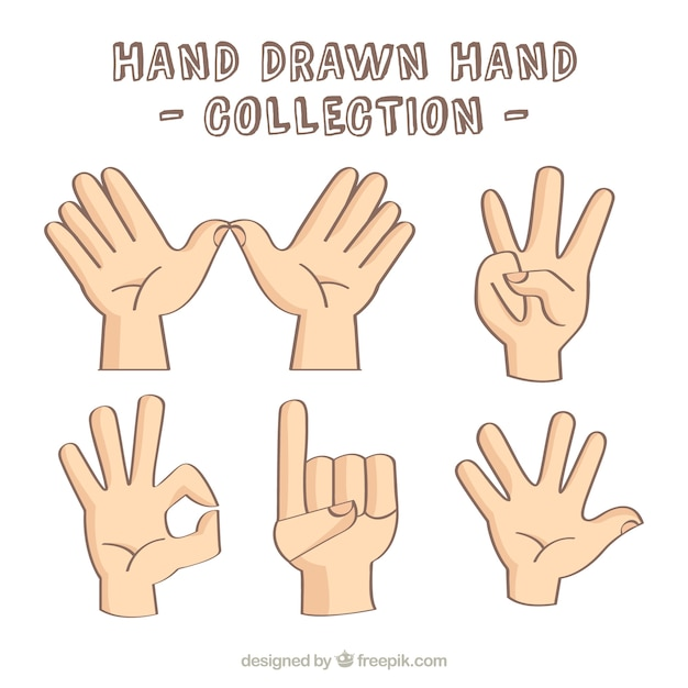 verschillende handen tekenen vector | gratis download
