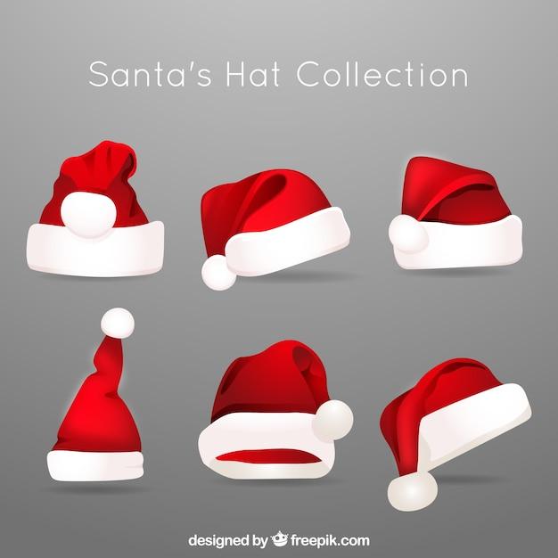Verschillende hoeden van kerstman Gratis Vector