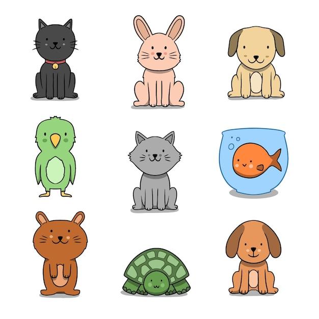 Verschillende huisdieren concept Gratis Vector