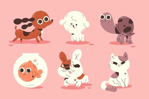 Verschillende huisdieren illustratie collectie Gratis Vector
