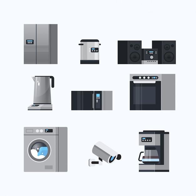 Verschillende huishoudelijke apparaten instellen elektrische huis apparatuur collectie platte witte achtergrond Premium Vector