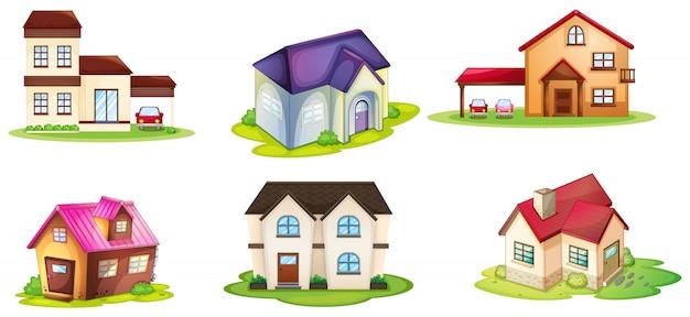 Verschillende huizen Gratis Vector