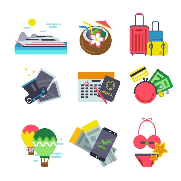 Verschillende iconen van reizen. zomervakantie vectorillustraties in vlakke stijl Premium Vector
