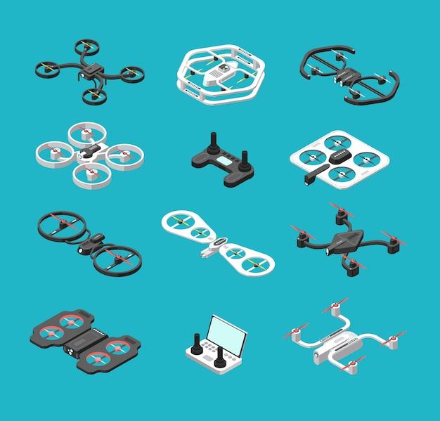 Verschillende isometrische 3d-drones. Premium Vector