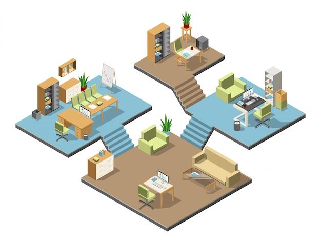Verschillende isometrische moderne kantoren met meubilair Premium Vector