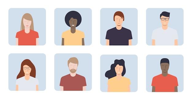 Verschillende jonge mensenportretten. avatars voor jongens en meisjes. illustratie Premium Vector