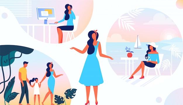Verschillende kanten van het leven van de vrouw. taken en rollen Premium Vector