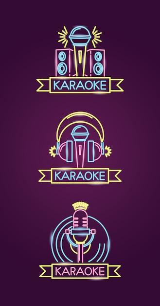 Verschillende karaokes in neonstijl met microfoon over paars Gratis Vector