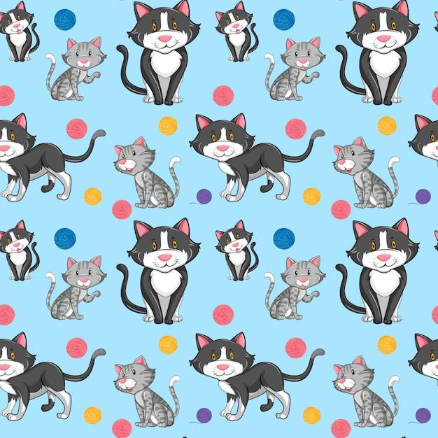 Verschillende kat op naadloos patroon Gratis Vector