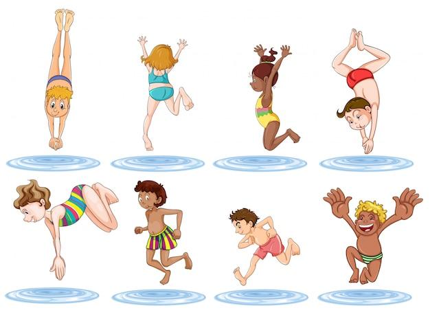 Verschillende kinderen genieten van het water Gratis Vector
