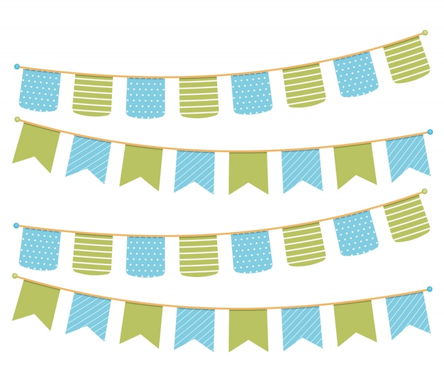 Verschillende kleurrijke bunting voor decoratie van uitnodigingen, groetkaarten enz., bunting vlaggen Premium Vector
