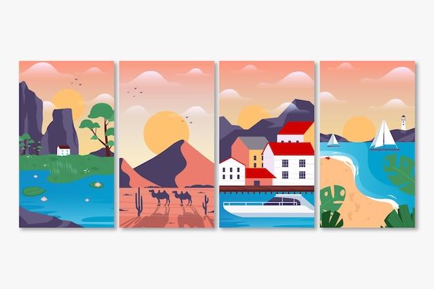 Verschillende landschappen collectie Gratis Vector