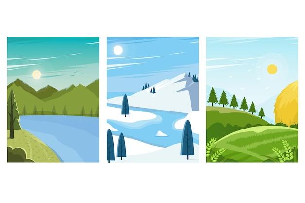 Verschillende landschappen ingesteld Gratis Vector