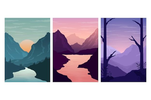 Verschillende landschapscollectie Gratis Vector