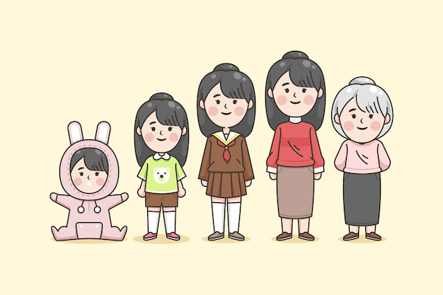 Verschillende leeftijden van japanse vrouw Gratis Vector