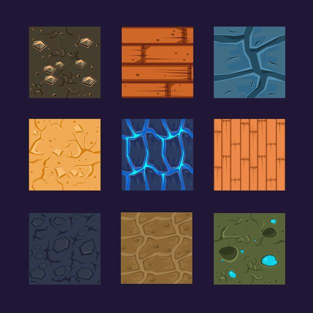 Verschillende materialen en texturen voor het spel Premium Vector
